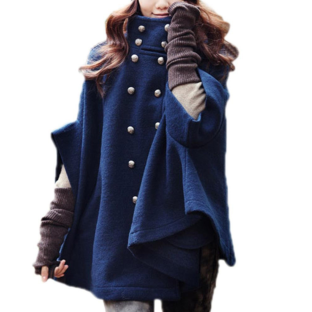 Women's Double-breasted Poncho Cape Wool Cloak Coat Outerwear Navy Blue(China (Mainland))