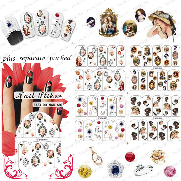 2015 NEW 50PCS/lot BOP Various New Water Transfer Nail Art Stickers Decal Cute Beautiful Design Decorative Foils Stamping Tools(China (Mainland))