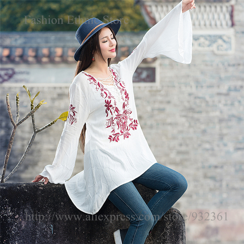 Womens Vintage Ethnic Embroidery Long Sleeve Blouses Casual Ladies Shirt Blouse Tops M L Plus Size Women clothing blusas