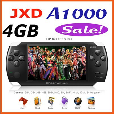 JXD A1000 4.3 inch LCD Screen 4GB Game Console Media Player MP4 MP5 Player with Camera Free Shipping(China (Mainland))