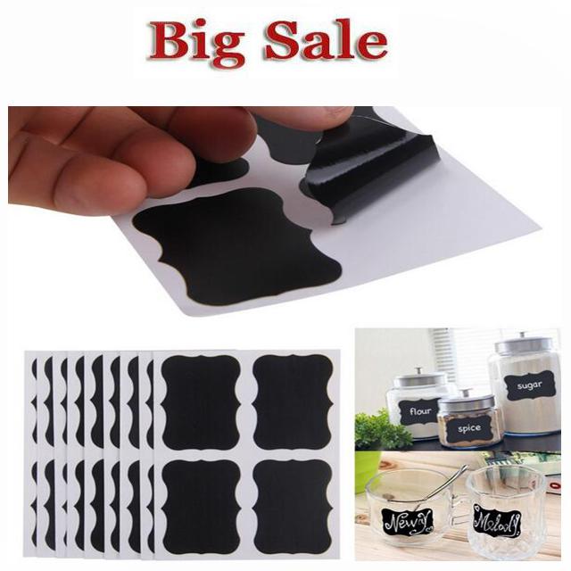 36Pcs/Set Blackboard Sticker Craft Kitchen Jar Organizer Labels Chalkboard Chalk Board Stickers Black For Kids Rooms(China (Mainland))
