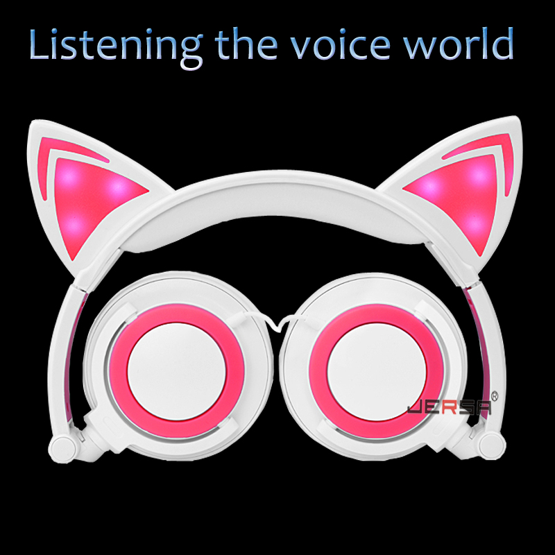 New Foldable Cat Ear Earphone Cute LED Light Cat Wired Headphone For Mobile Phone And PC Computer MP3 Cosplay Gaming Headset(China (Mainland))