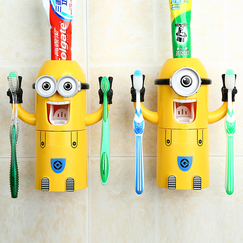 2016 Hot Selling Automatic Toothpaste Dispenser Tooth Cup Toothbrush Holder Sucker Yellow Minion Wash Suit Tumbler(China (Mainland))