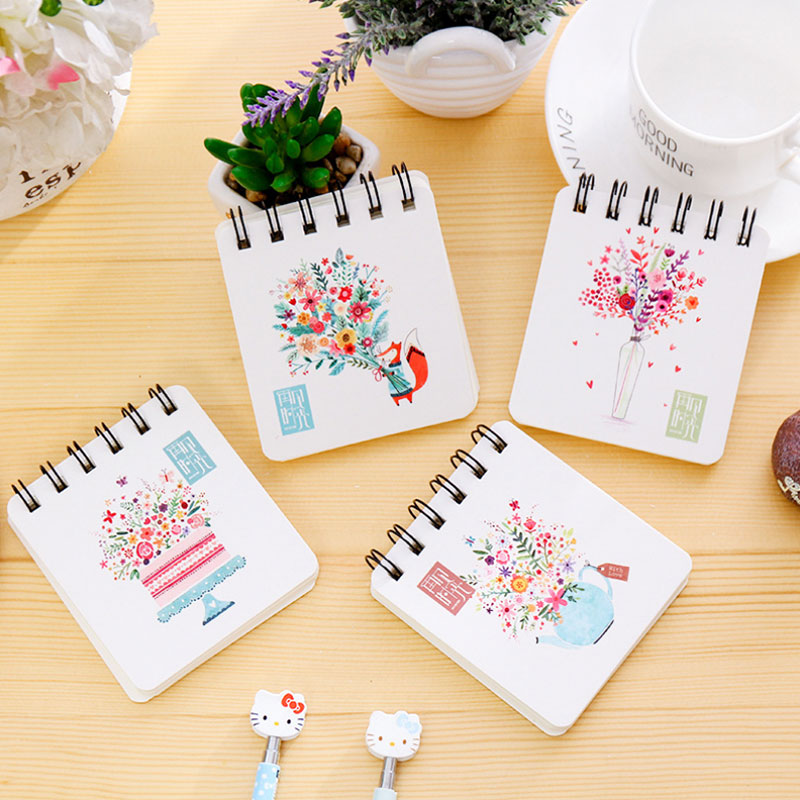 1 pcs cute bouquet mini Portable coil notebook diary cash book notepad memo kawaii stationery school supplies child's gifts(China (Mainland))