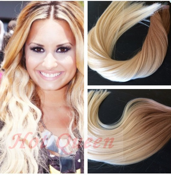 Invisible Ombre Tape In Hair Extension Blonde #27/613 Brazilian Human Straight Virgin Skin Weft Hair Extension 40P/100G<br><br>Aliexpress