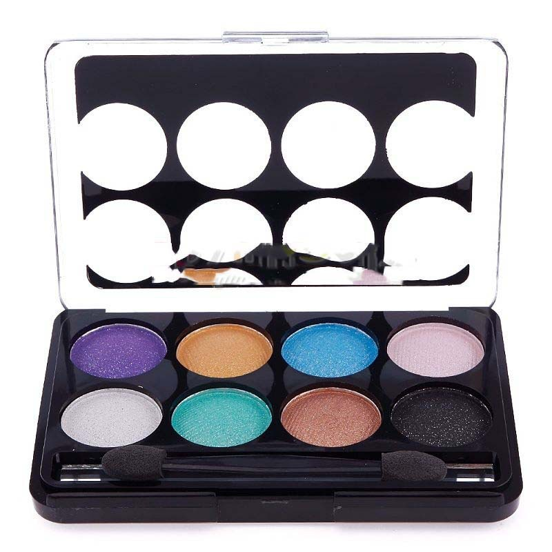 DollarMart buyable New Fashion 8 Color Glitter Pearl Eyeshadow Palette with Double Eye Shadow Brush superble(China (Mainland))