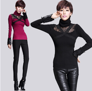 Winter women sweater street Fashion Classics personality designer blouse turtleneck Long sleeved sweater lace warm pull femme(China (Mainland))