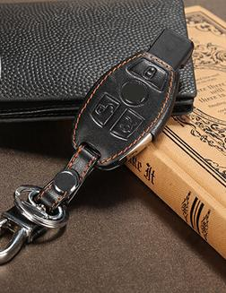 Leather Car Key Cover For mercedes benz CLS CLA GL R SLK AMG c e s class High quality key case leather key chain(China (Mainland))