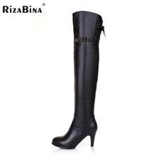 Envío gratuito a largo rodilla natrual cuero genuino verdadero de tacón alto botas de las mujeres de arranque nieve R4632 eur 31-45(China (Mainland))