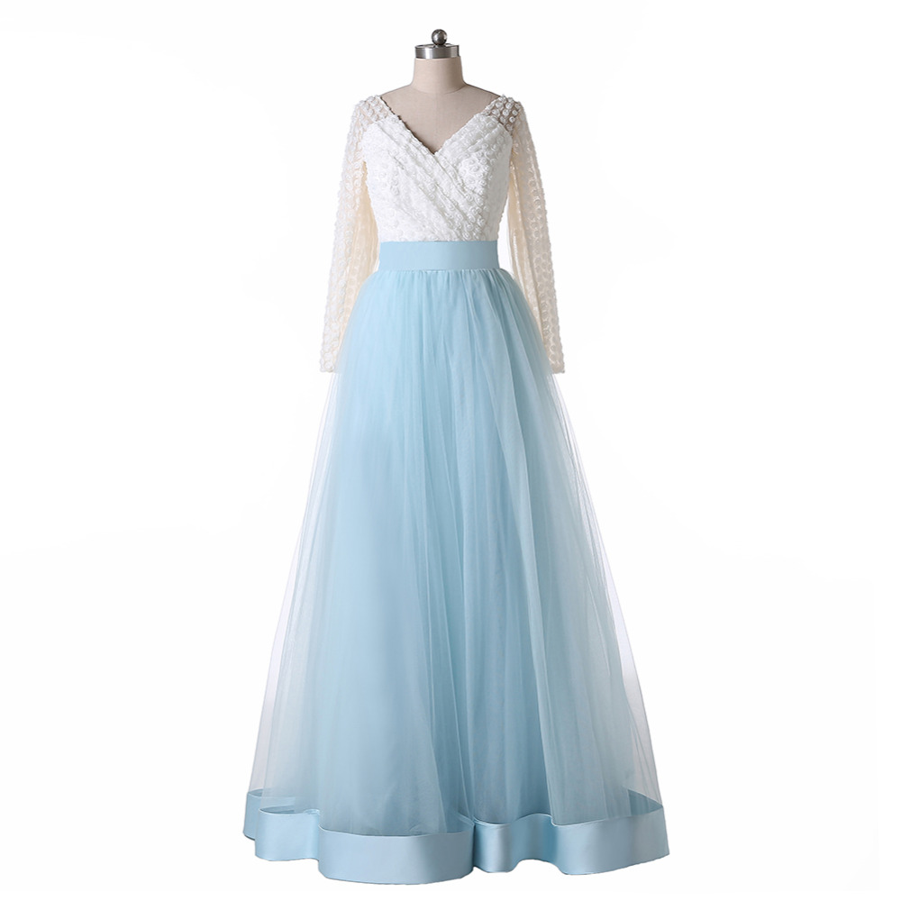 New style long sleeve flower lace tulle a line white and for Blue wedding dress with sleeves