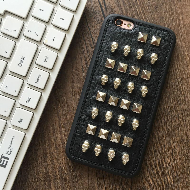 Rock PUNK Rivets Skull soft rubber PU leather phone case For iPhone 5,5S,SE,6,6S,6plus,6Splus,7,7plus fashion back cover bag