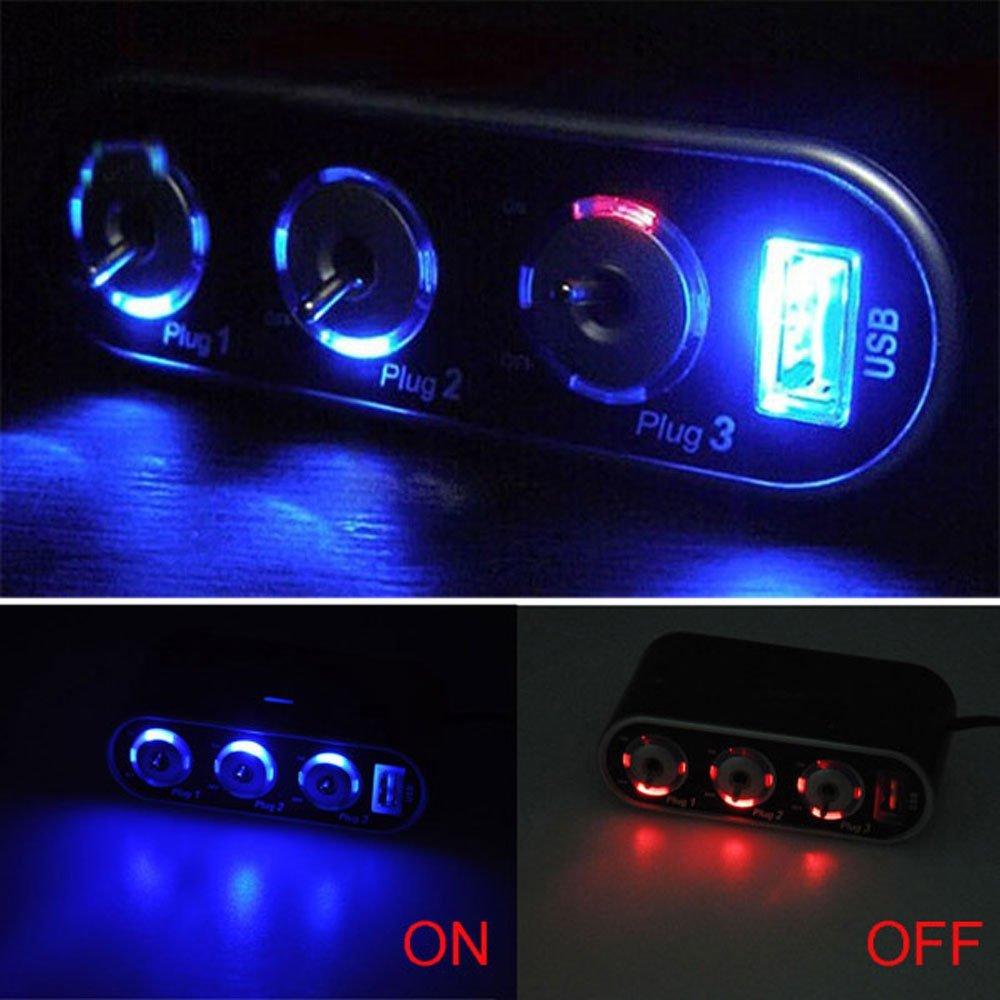 Car Accessories Automobile Car Cigarette Lighter 3 Way Splitter Adapter +USB+LED Light DC12V Port New(China (Mainland))
