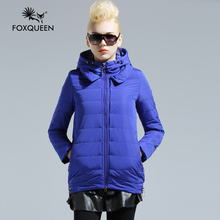 Fox queen 2016 New Arrive Ladies Long Design Coat Women Spring Cotton Padded Thin Slim Coat  Women's  Warm Outwear Clothing