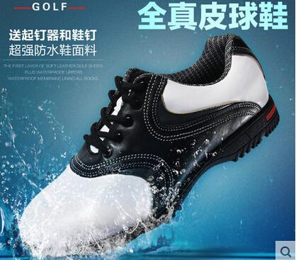 2015 International name brand Original golf ball shoes Men super-fibre leather shoes sneaker light velcro golf shoes(China (Mainland))