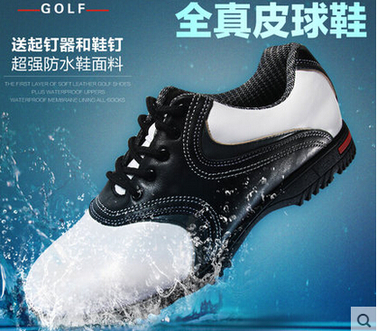 2015 International name brand Original golf ball shoes Men super-fibre leather shoes sneaker light velcro golf shoes(China (Mainland))