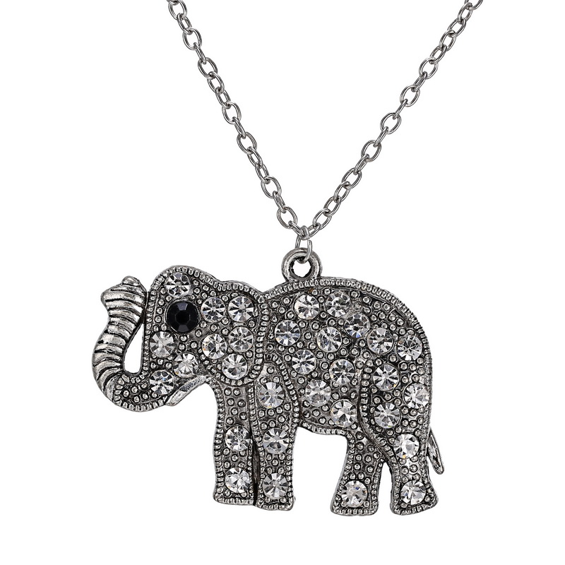 Retro Elephant Pedant Necklaces With Long Chain Antique Silver Vintage Crystal Animal Necklaces For Women Female Jewelry(China (Mainland))