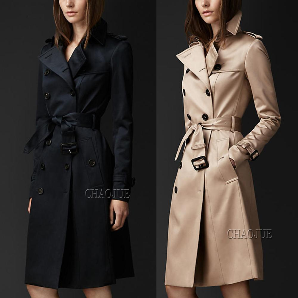 2014 Autumn and Winter long trench fashion elegant slim double breasted long coat women winter outerwear