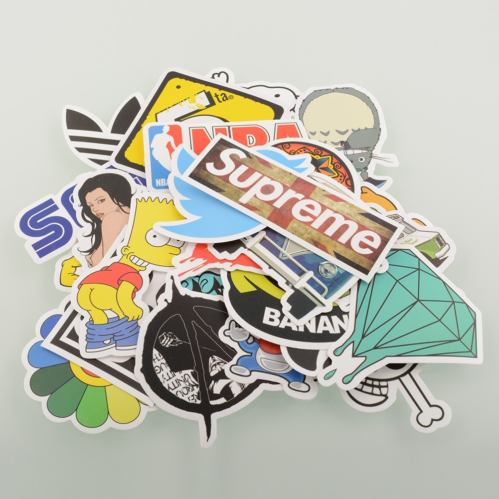 100 Pieces Car Styling Stickers Skateboard Snowboard Vintage Sticker Laptop Luggage Car Bike Bicycle Decals mix
