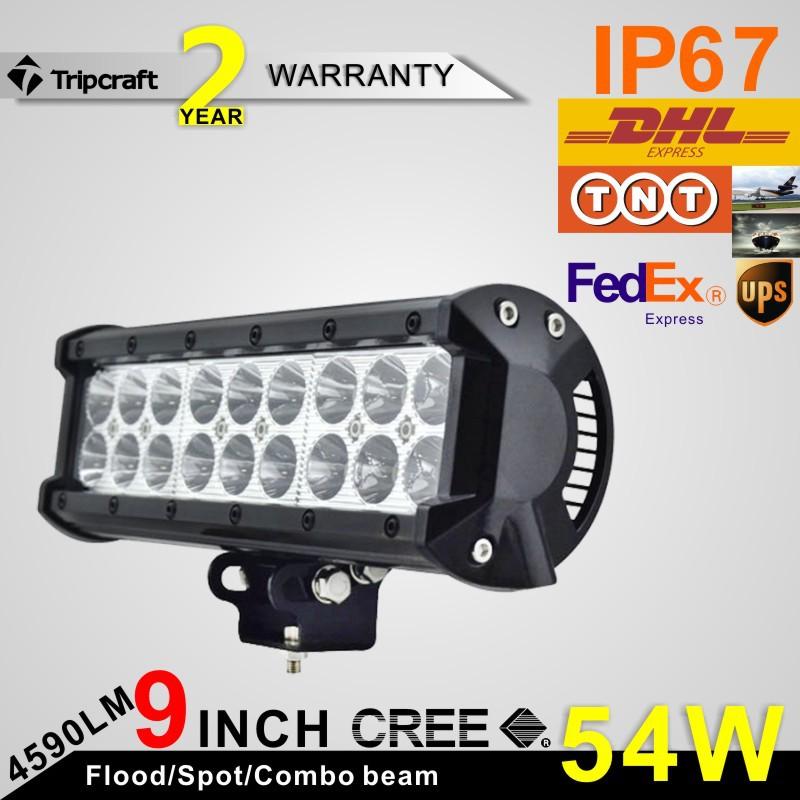 Фотография 4pcs 9inch 54W Cree LED Light Bar Spot Flood Combo Beam Offroad Light 12V 24V Work Lamp For ATV SUV 4WD 4X4 Boating Hunting