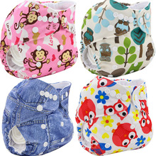 Washable Diapers Couches Lavables  2016 Baby Diaper Cover Wrap Cartoon Print Baby Nappy Changing Reusable Baby Cloth Diapers(China (Mainland))