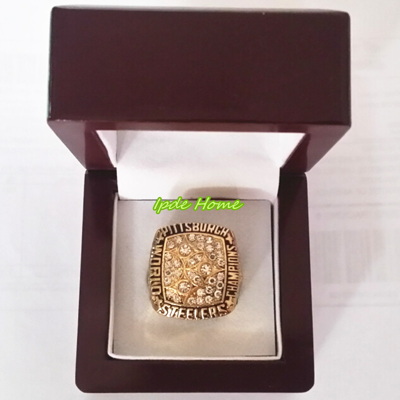 High quality factory price 1978 Pittsburgh Steelers world series championship ring replica with wooden ring box drop shipping(China (Mainland))