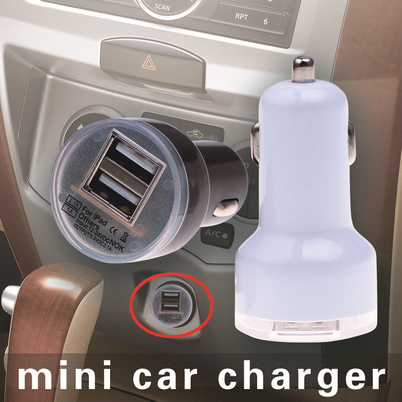 Universal Micro Auto Dual USB Car Charger For iPhone iPad 2.1A Mini Car Charger Adapter cargador coche carregador de celular(China (Mainland))