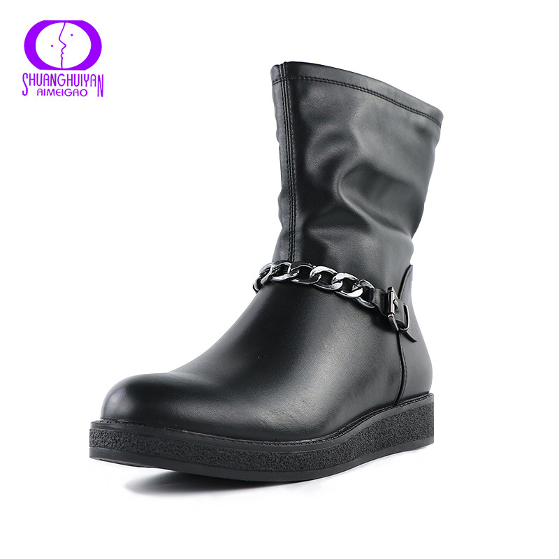 New Europe Styles Round Toe Short Ankle Women Boots Metal Chain Leather Women Shoes Large Size Black Ladies Boots Bottes Femmes(China (Mainland))