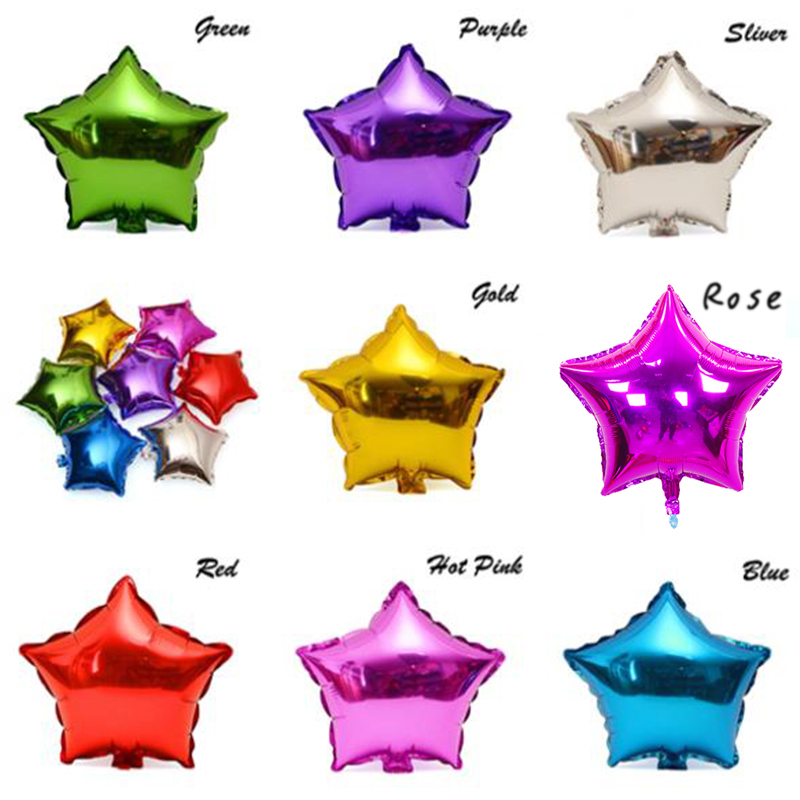 10 pcs/lot 10'' five-pointed star shaped foil Balloons Helium Metallic pure color balloons Wedding birthday party decoration(China (Mainland))