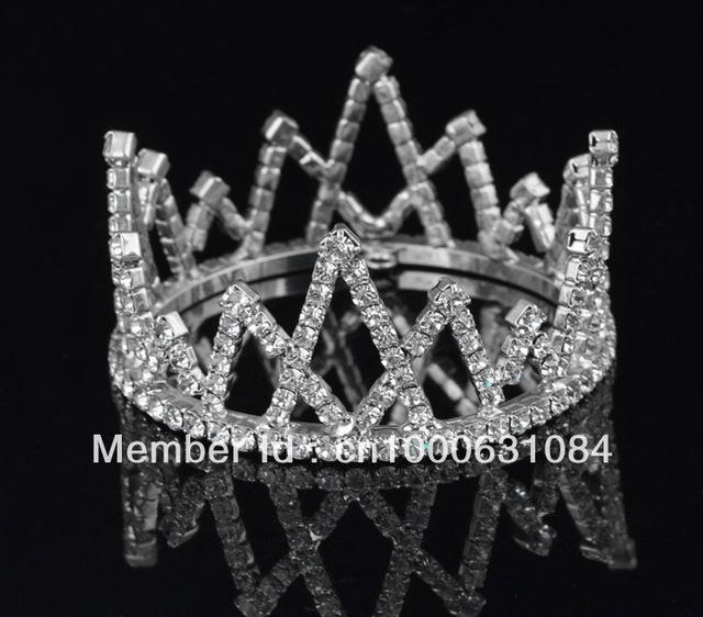 Free Shipping 6pcs/lot Fashion Silver Plated Crystal Children Mini Tiara Lovely Rhinestone Wedding Crown Charm Triangle Jewelry