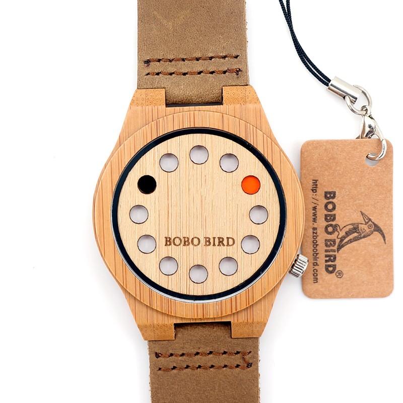 БОБО ПТИЦА Мужская Наручные часы 12 Целые Кожаный Ремешок мужской Деревянный Кварцевые Часы сделаны из Бамбука С Подарочной Коробке