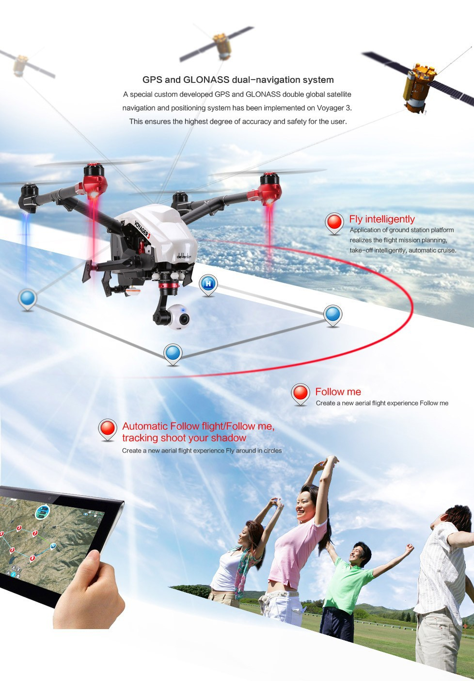 WALKERA VOYAGER 3 FPV 4K Camera & GLONASS Dual-Navigation System Detachable & Unrestricted 360 Degree Gimbal PK DJI Inspire 1