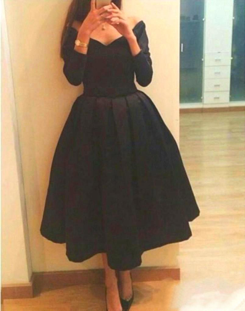 Buy 2015 sexy v neck black tea length for Black tea length wedding dress