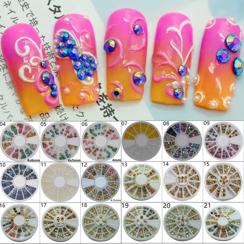 1 Wheel Nail Art Rhinestone Decoration For DIY Nails Art Accessory Fashion Decorations Beauty Tools 27