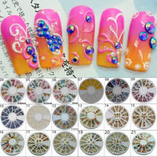 1 Wheel Nail Art Rhinestone & Decoration For DIY Nails Art Accessory Fashion Decorations Beauty Tools, 27 Styles For Choose
