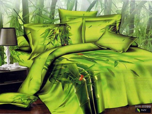 3d yellow green bamboo print bedding comforter set queen for Housse de couette verte