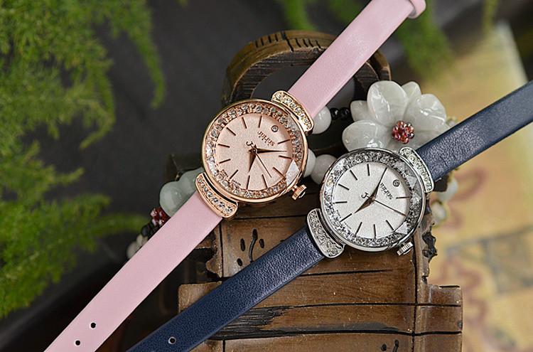 Новый юлий леди женщина наручные часы кварцевых часов лучший мода горный хрусталь платье многоцветная браслет кожа девушки подарок на день рождения 866