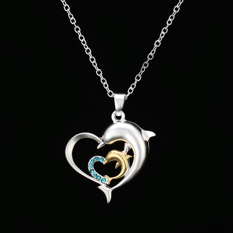 Nooxian New Style Fashion Exquisite Two Heart Shape Necklace Two Color Dolphin Blue Crystal Pendant Lovers