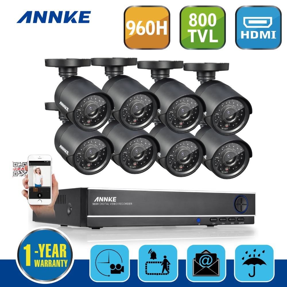 Hotting ANNKE 8CH 960H Waterproof CCTV System Video Recorder 800TVL Home Security Camera Surveillance Kits With 8 Cameras(China (Mainland))