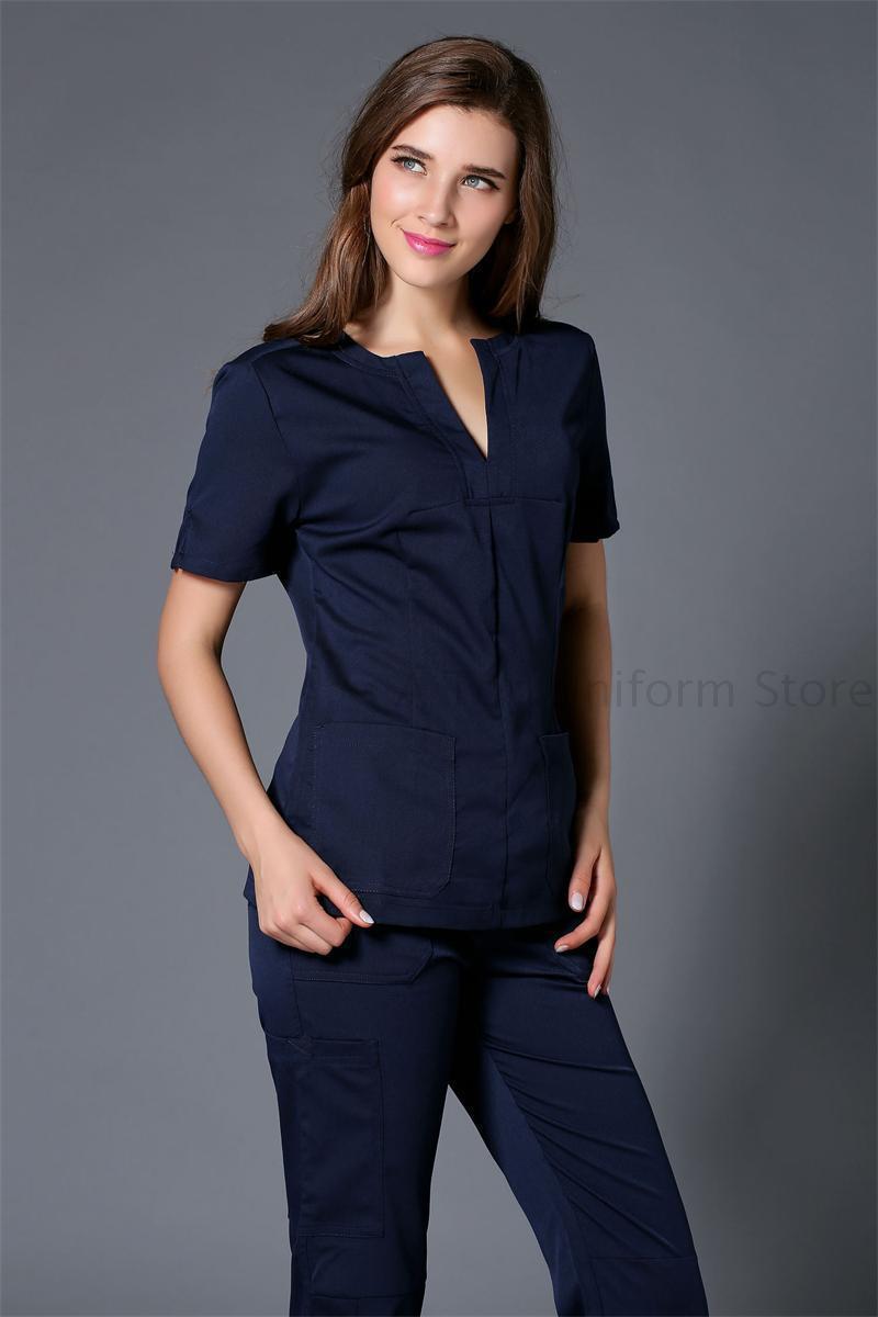 High-quality Medical Nursing Scrubs Women Set Top & Pants Nurse Uniform Scrub Pants(China (Mainland))