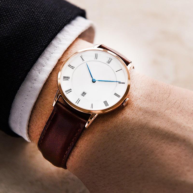 Roman Face Hodinky Watch Antique Quartz Wristwatch With Calendar Women Men Brown Leather Strap Watches Klockor Men Relogio(China (Mainland))