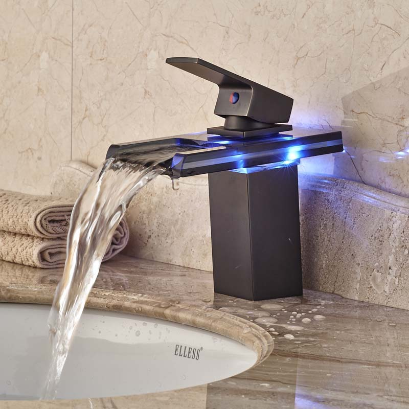 Hot-Sale-LED-Light-Bathroom-Glass-Waterfall-Basin-Mixer-Faucet-Single-Handle-Oil-Rubbed-Bronze-Finish