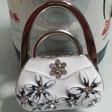 2015 Blue and white porcelain Women Cute Folding Bag Purse Handbag Hook Hanger Table Holder Gifts Free Shipping E7423-white(China (Mainland))