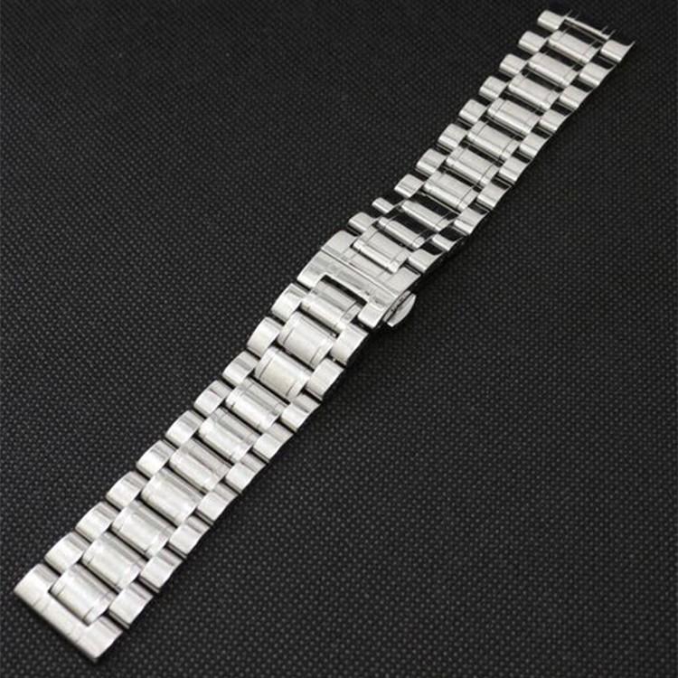 Новый Промоушен Ремешок 28 мм Из Нержавеющей Стали Ремешок для Часов Наручные Часы с Push Боттон Скрытые БАБОЧКА пряжки Черный Серебристый