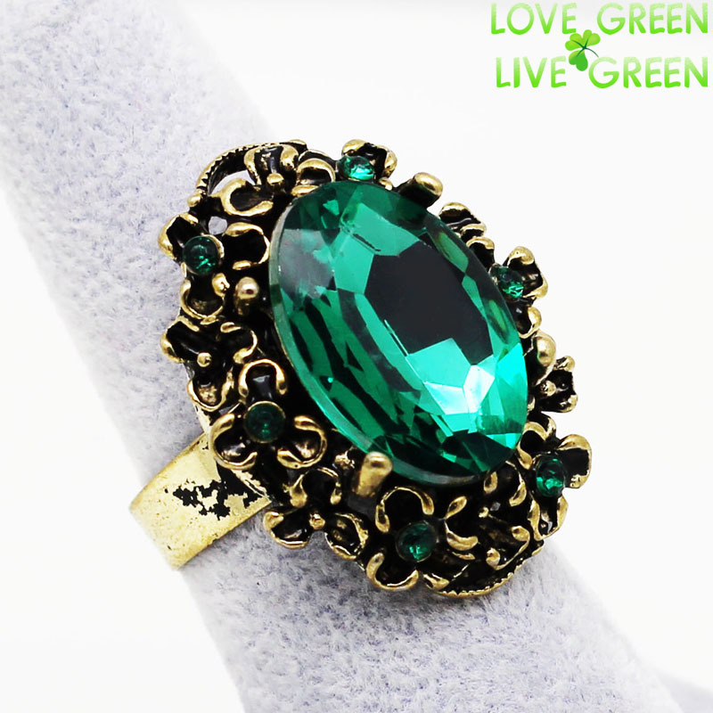 Antique Bronze Vintage Gold Emerald Big Stone Crystal Rhinestone Rings For Women Finger Jewelry Wedding Fashion Accessories 1105(China (Mainland))