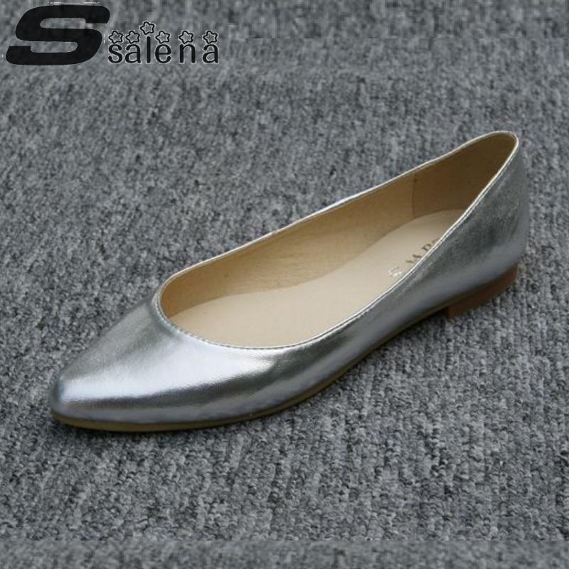2016 Women Sheepskin Shoes Fashion Genuine Leather Flats Women Wedding Shoes Gold Silver Pluz Size Eu 41 A703<br><br>Aliexpress