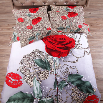 wedding bedclothes 3d red Rose bedcover cotton bed sheet set Duvet/Comforter/Quilt cover 4pc bedding sets Full king queen size