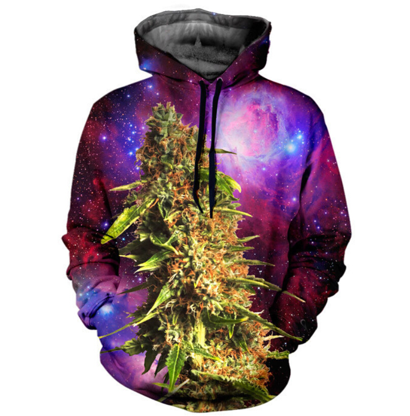 Fashion newest lovers winter galaxy space hooded sweatshirt 3d printing plantlife Weed Coral biology crop hoodie pullovers(China (Mainland))