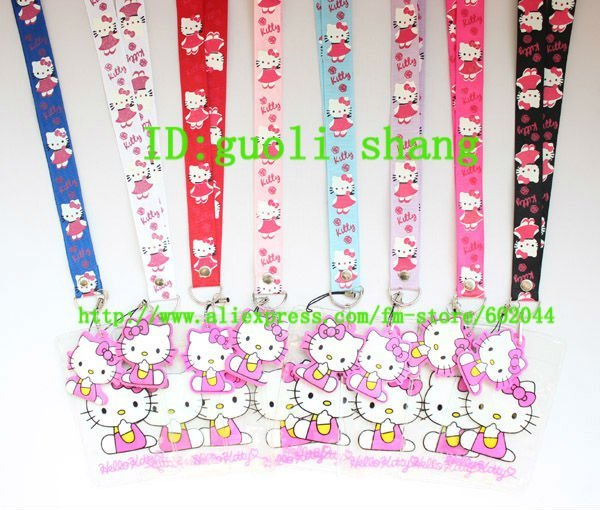 New Lot 120pcs hello kitty  Lanyard strap Cell Phone ID Key Holder + pouch + soft dangler  Wholesale free shipping