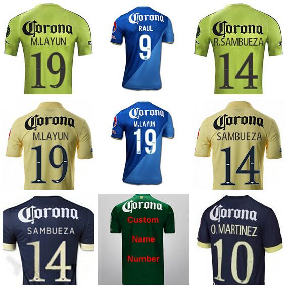 2015 2016 Mexico Club America Jersey Soccer 19 M.LAYUN 9 Raul 7 ANDY RIOS 10 O.MARTINEZ 15 L.MENDOZA 22 P.AGUILAR Football Shirt(China (Mainland))