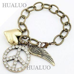 2015 Europe & America New Style Peace Symbol & Wings & Heart Bracelet Hot Sale B122